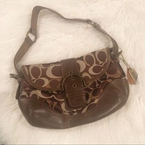 Coach Brown Shoulder Handbag With Buckle
